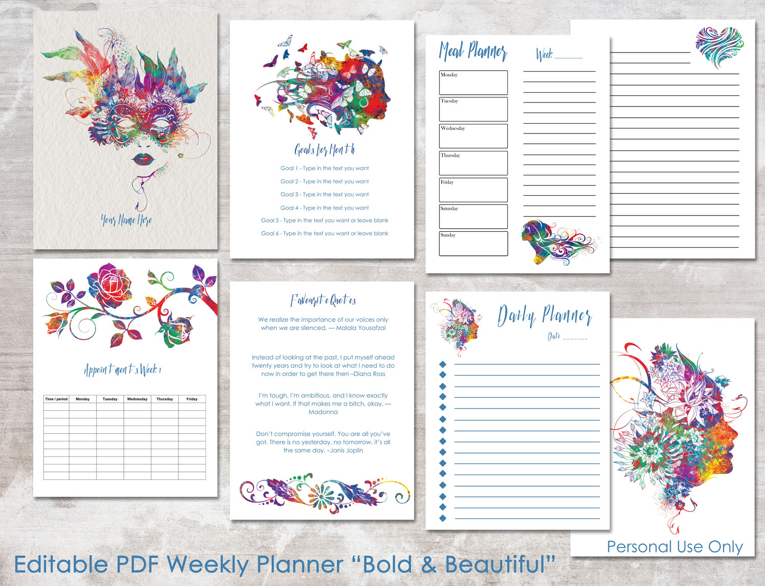 photo about Week Planner Pdf referred to as Formidable Attractive Editable Each day Weekly Planner PDF 8.5 x 11